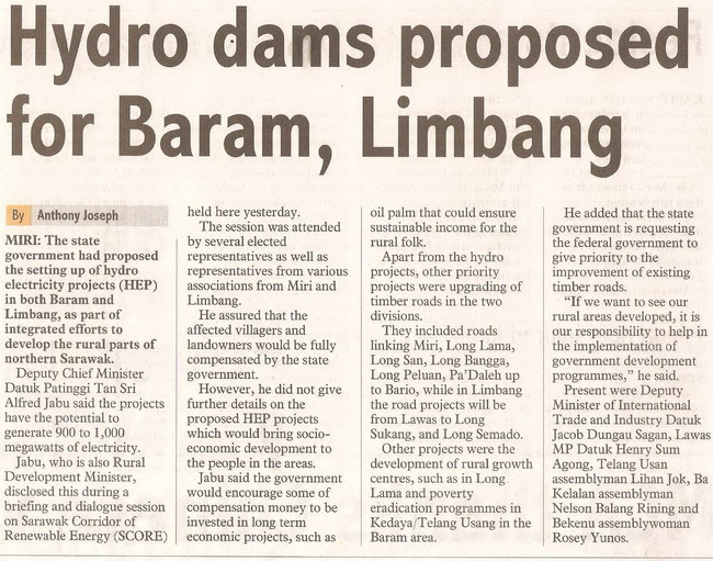 thesundaypost. 2009. Hydro dams proposed for Baram, Limbang. January 18, 2009 Edition.