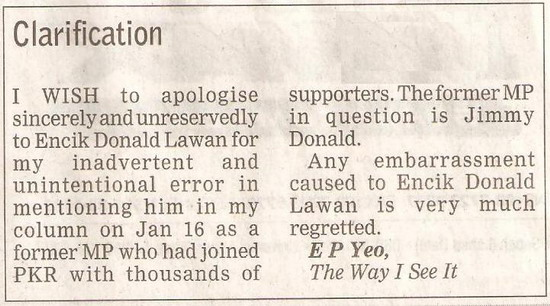 Borneo Post. 2009. Clarification. January 17, 2009 Edition.