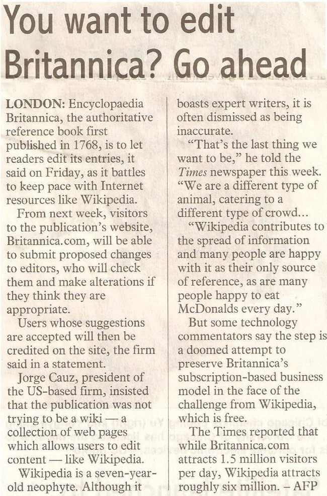 thesundaypost. 2009. You want to edit Britannica? Go ahead. January 25, 2009 Edition.