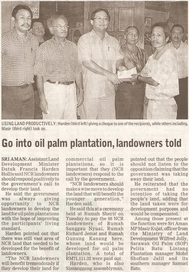 Borneo Post. 2009. Go into oil palm plantation, landowners told. January 22, 2009 Edition.