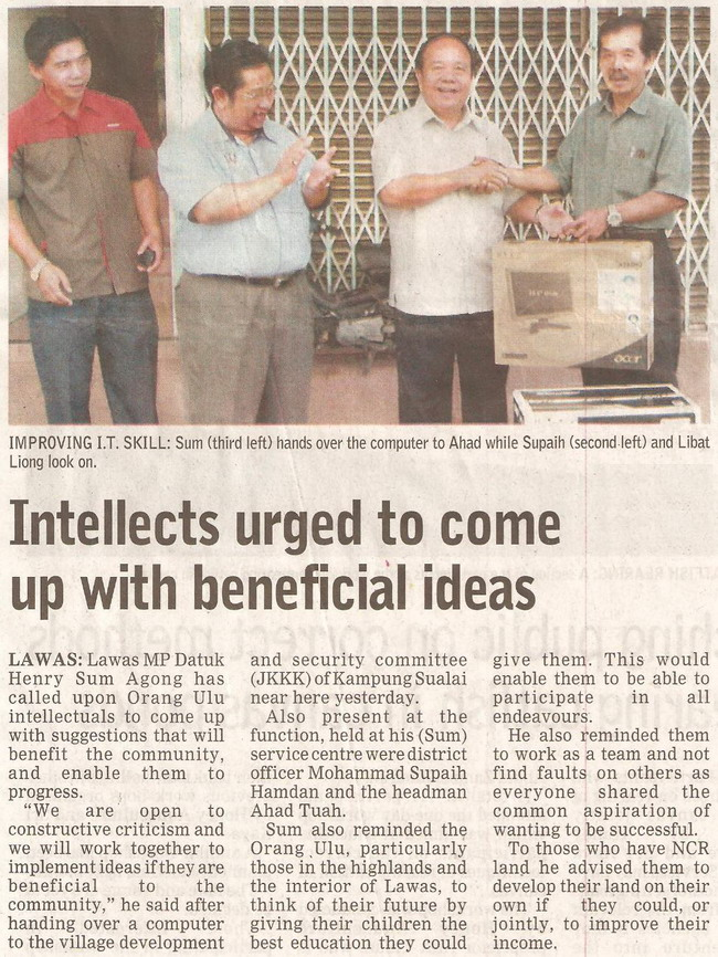 Borneo Post. 2009. Intellects urged to come up with beneficial ideas. January 20, 2009 Edition.