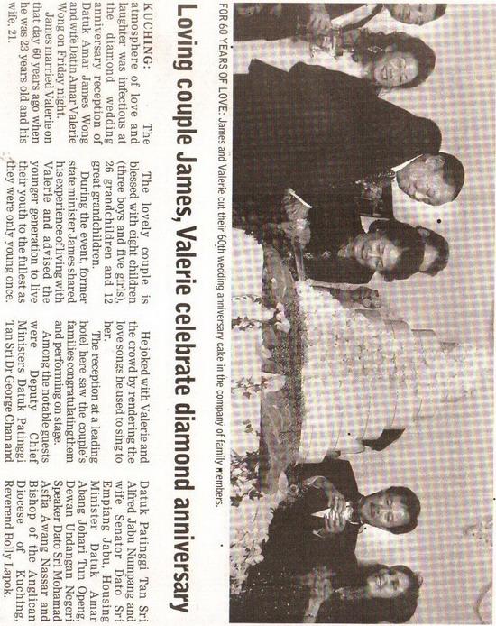 Borneo Post. 2009. Loving couple James, Valerie celebrate diamond anniversary. January 13, 2009 Edition.