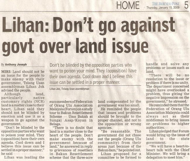 Don't go against govt over land issue. January 15, 2009 Edition.