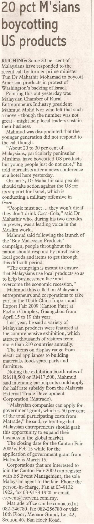 thesundaypost. 2009. 20 pct M'sians boycotting US products. January 18, 2008 Edition.
