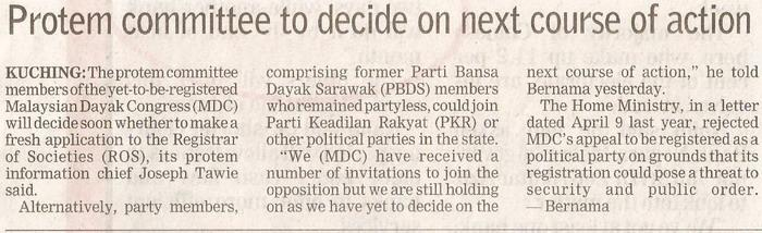 Borneo Post. 2009. Protem committee to decide on next course of action. January 19, 2009 Edition.