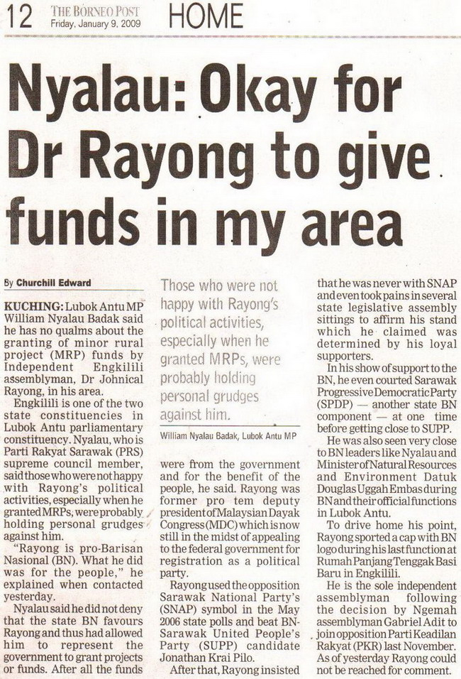 Okay for Dr Rayong to give funds in my area. January 9, 2009 Edition.