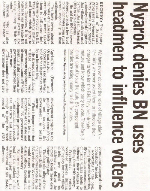 Borneo Post. 2009. Nyarok denies BN uses headmen to influence voters. January 9, 2009 Edition.