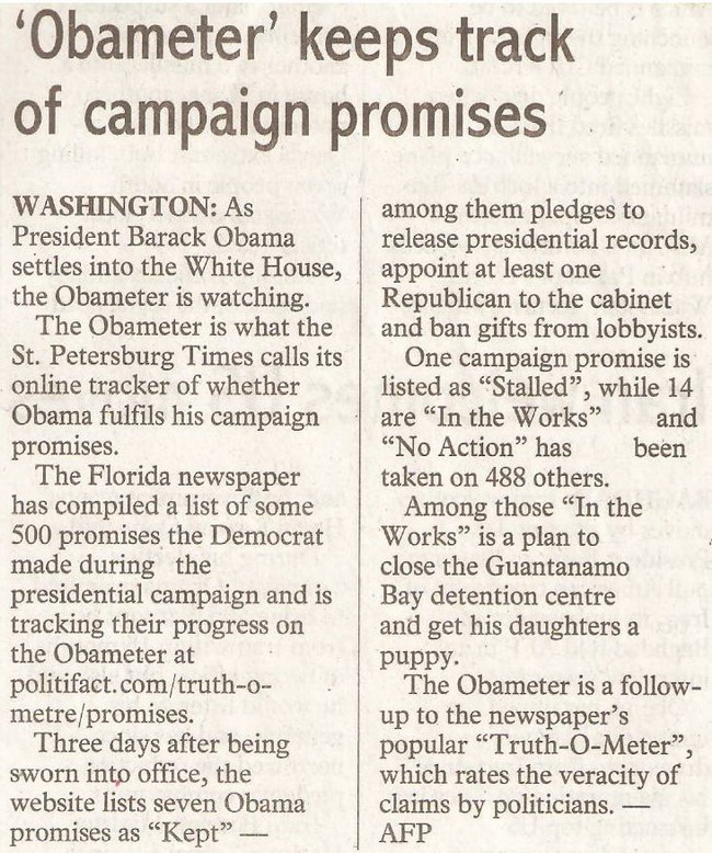thesundaypost. 2009. 'Obameter' keeps track of campaign promises. January 25, 2009 Edition.