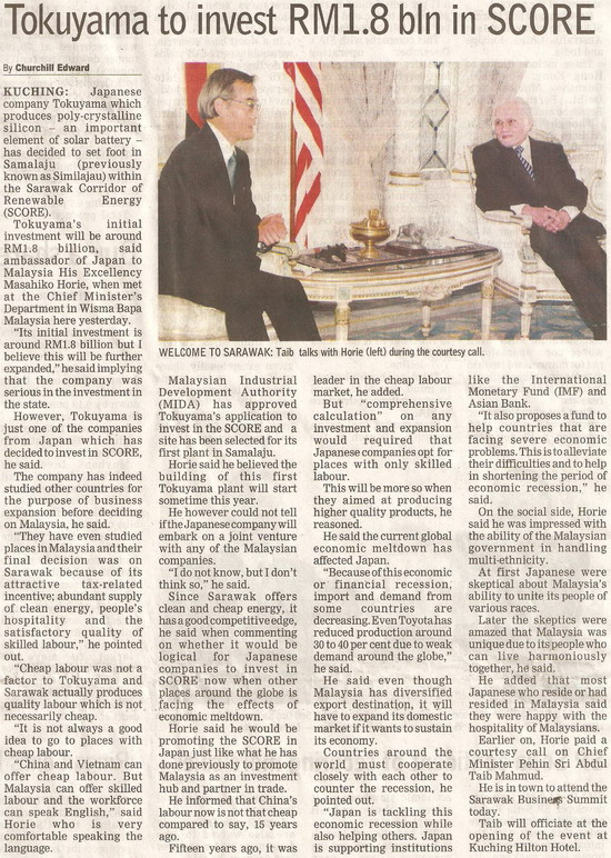 Borneo Post. 2009. Tokuyama to invest RM1.8 bln in SCORE. January 20, 2009 Edition.