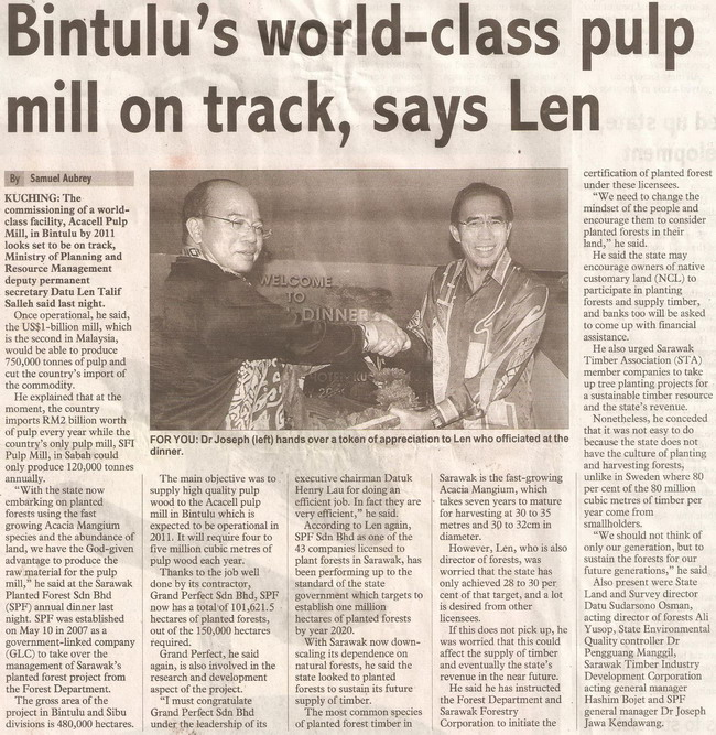 thesundaypost. 2009. Bintulu's world-class pulp mill on track, says Len. January 25, 2009 Edition.