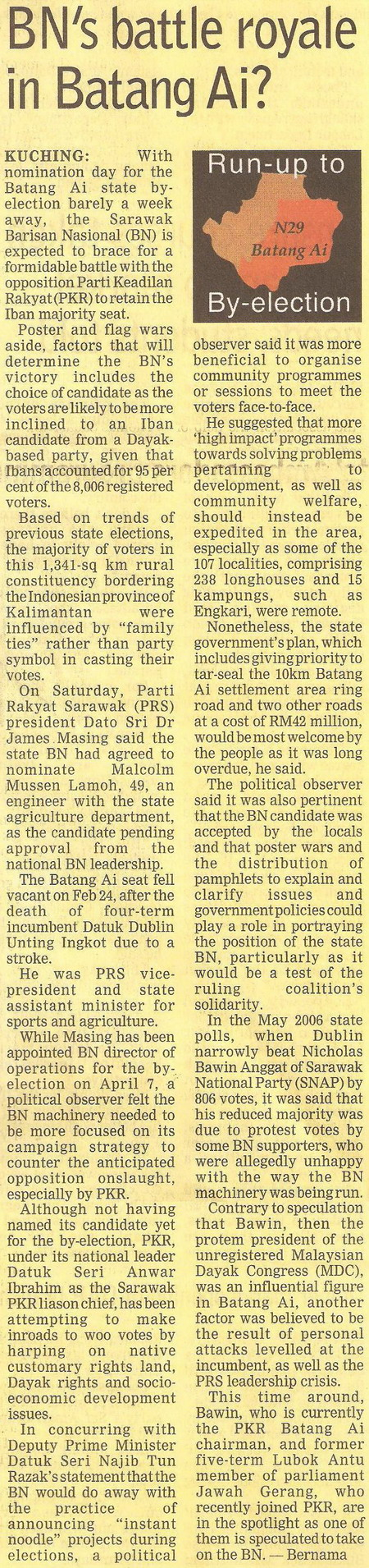 Borneo Post. 2009. BN's battle royale in Batang Ai? March 16, 2009 Edition.