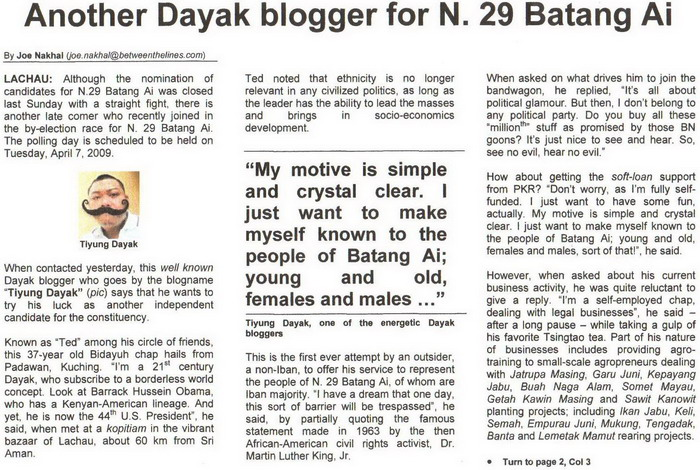 Between The Lines. 2009. Another Dayak blogger for N. 29 Batang Ai. April 1, 2009 Edition.