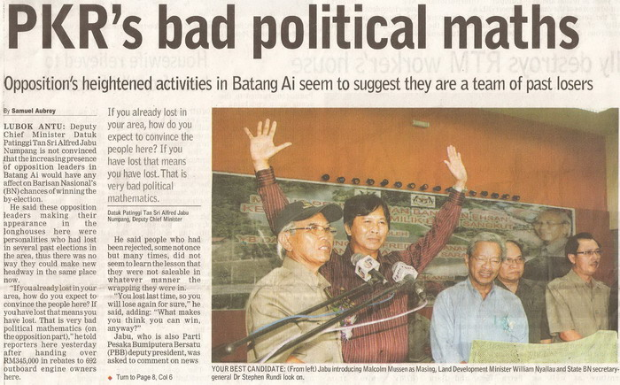 Borneo Post. 2009. PKR's bad political maths. March 19, 2009 Edition.