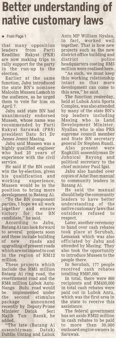 Borneo Post. 2009. PKR's bad political maths. March 19, 2009 Edition. (continued)