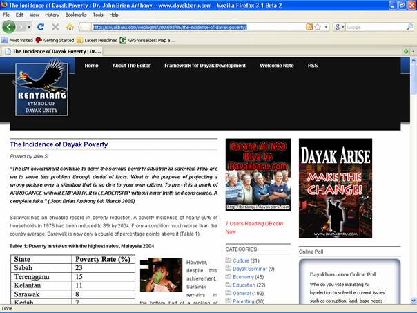 """The Incidence of Dayak Poverty"" found in DayakBaru.com. Click on the above image for further details."