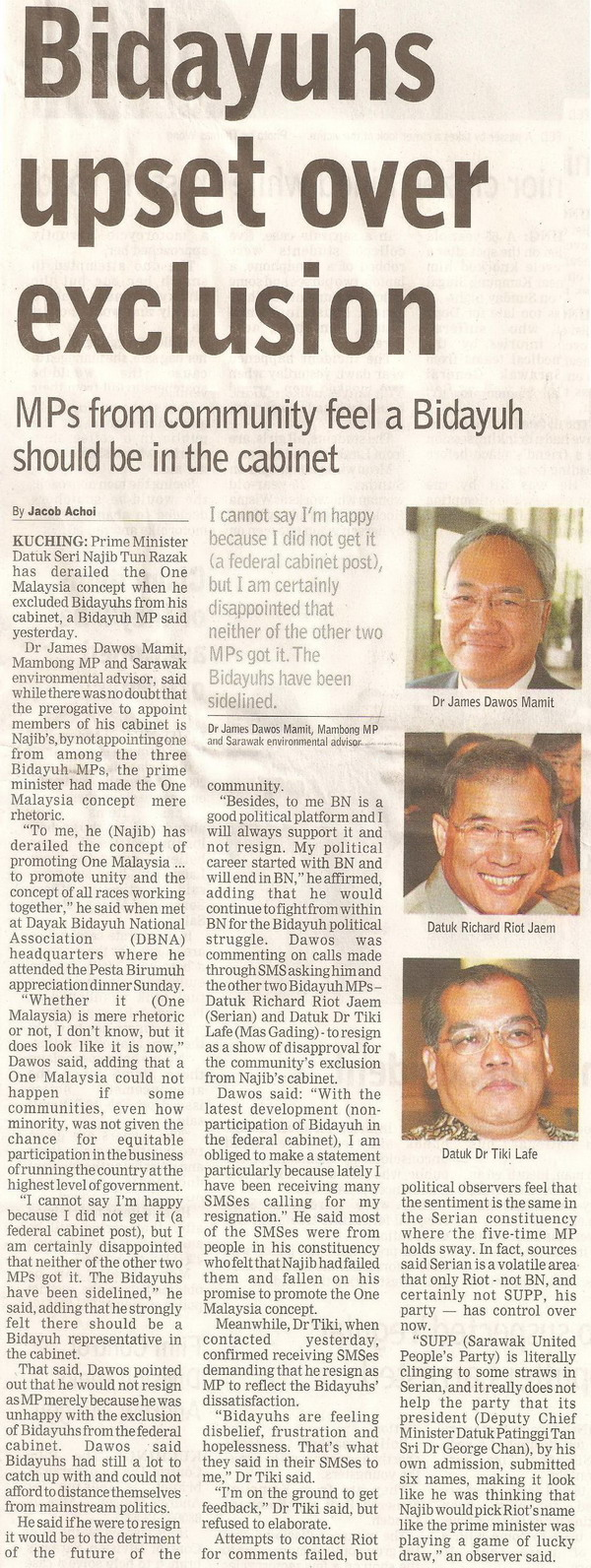 Borneo Post. 2009. Bidayuhs upset over exclusion. April 14, 2009 Edition.
