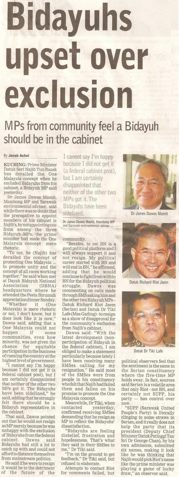 Borneo Post. 2009. Bidayuhs upset over exclusion. April 14, 2009 Edition.