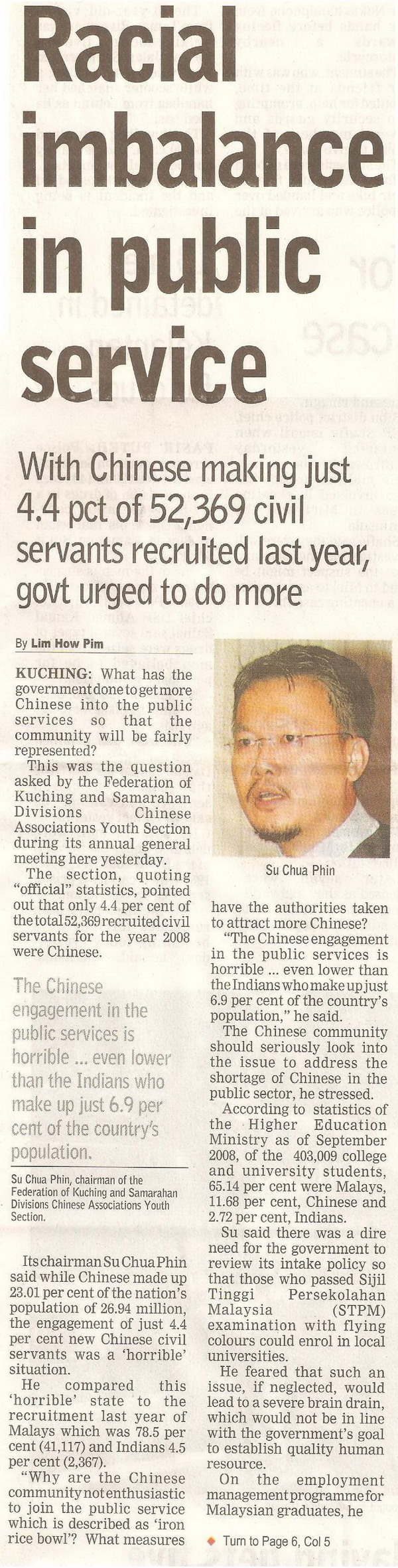 Borneo Post. 2009. Racial imbalance in public service. April 13, 2009 Edition.