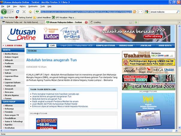 Utusan Online. 2009. Abdullah terima anugerah Tun. April 3, 2009 Edition.