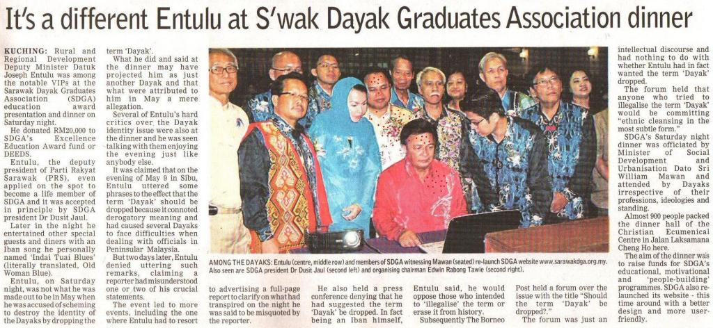 Borneo Post. 2009. It's a different Enturun at S'wak Dayak Graduates Association dinner. August 24, 2009 Edition.