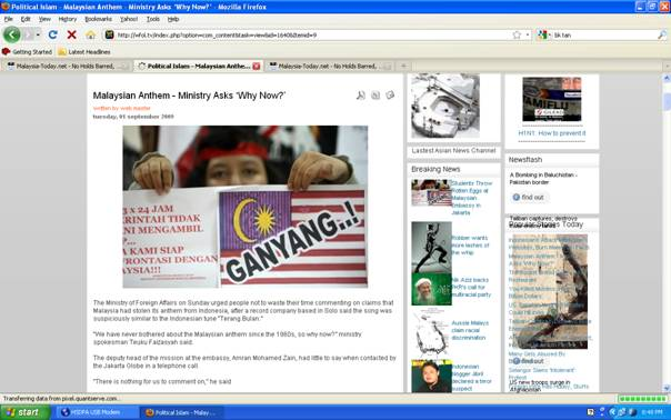 Malaysian Anthem - Ministry asks 'Why now?'
