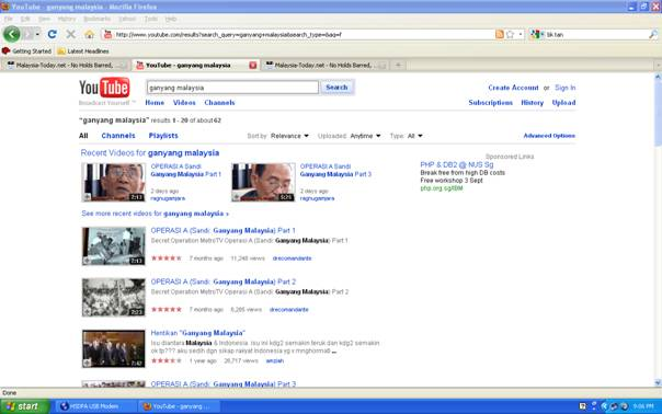 "The ""Ganyang Malaysia"" or ""Crush Malaysia"" campaign in Youtube.com... Note the Google Search for ""B K Tan""..."
